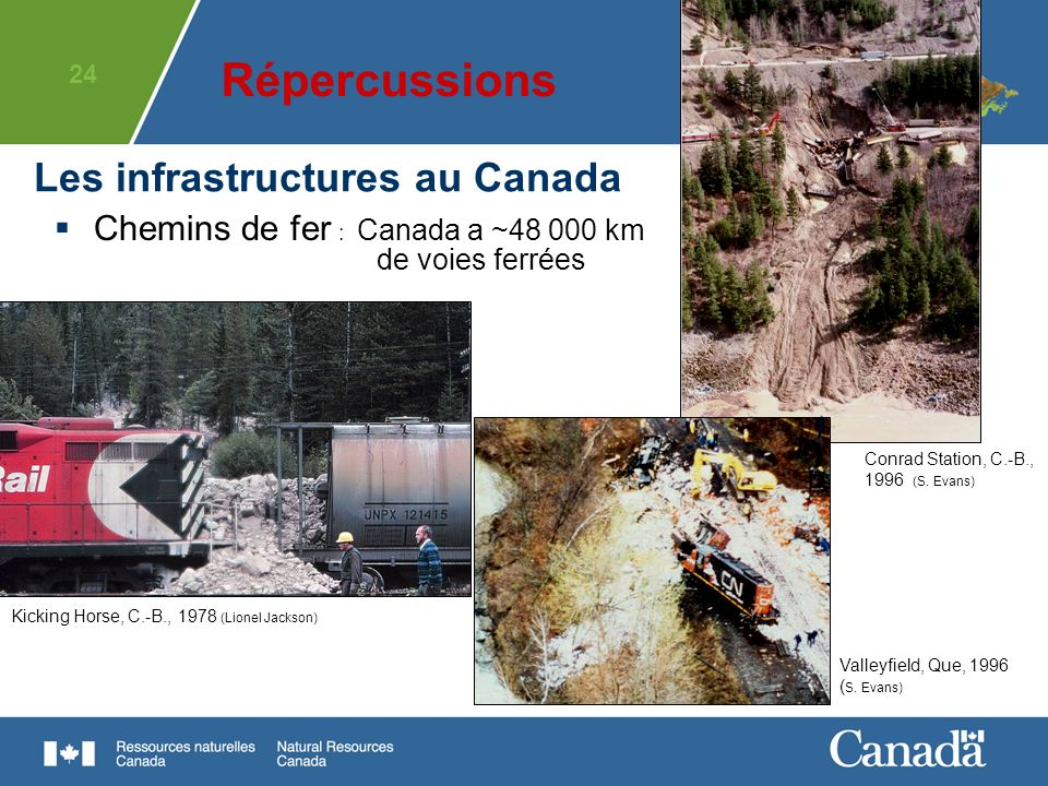 24 Chemins de fer : Canada a ~48 000 km de voies ferrées Les infrastructures au Canada Kicking Horse, C.-B., 1978 (Lionel Jackson) Conrad Station, C.-