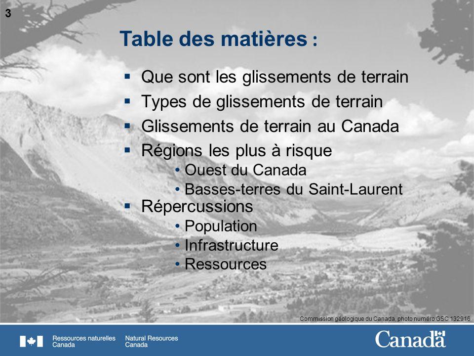 3 Commission géologique du Canada, photo numéro GSC 132916 Que sont les glissements de terrain Types de glissements de terrain Glissements de terrain