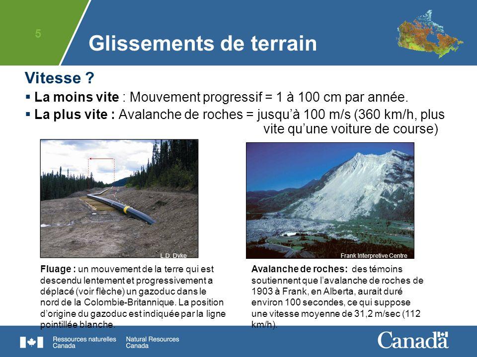 6 Les types de glissements de terrain au Canada La façon dont la pente sécroulera et dont le matériel se déplacera dépend de la géologie, de la physiographie et du climat de la région.