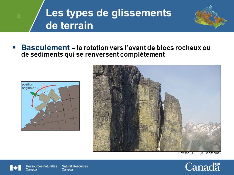 9 Glissement – le déplacement vers le bas de masses de matériaux relativement intacts suivant des plans de faiblesse Glissement planGlissement rotationnel Mountain River, N.W.T.