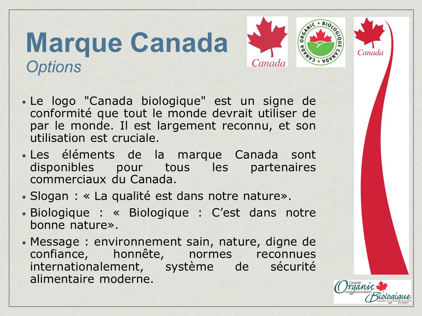 Marque Canada Options Le logo