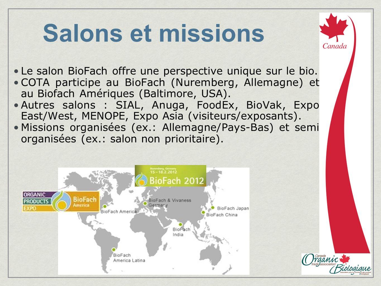 Salons et missions Le salon BioFach offre une perspective unique sur le bio. COTA participe au BioFach (Nuremberg, Allemagne) et au Biofach Amériques