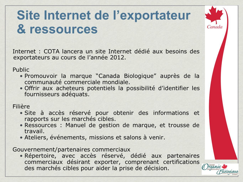 Site Internet de lexportateur & ressources Internet : COTA lancera un site Internet dédié aux besoins des exportateurs au cours de lannée 2012.
