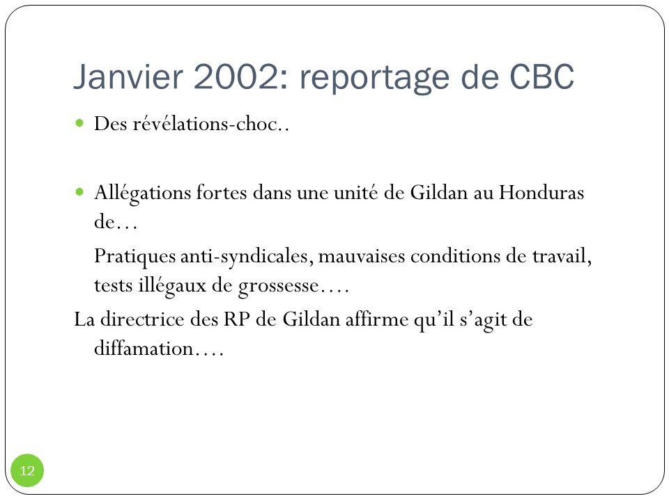 Janvier 2002: reportage de CBC 12 Des révélations-choc.. Allégations fortes dans une unité de Gildan au Honduras de… Pratiques anti-syndicales, mauvai
