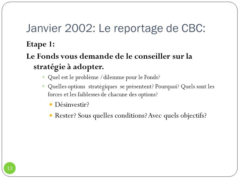 Janvier 2002: Le reportage de CBC: 13 Etape 1: Le Fonds vous demande de le conseiller sur la stratégie à adopter. Quel est le problème /dilemme pour l