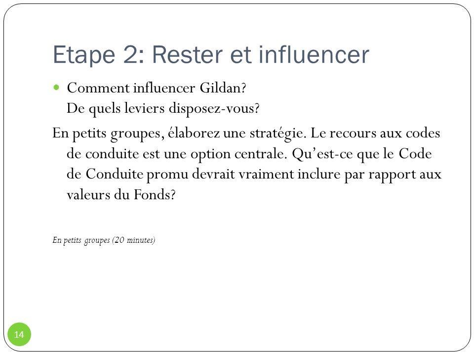 Etape 2: Rester et influencer 14 Comment influencer Gildan? De quels leviers disposez-vous? En petits groupes, élaborez une stratégie. Le recours aux