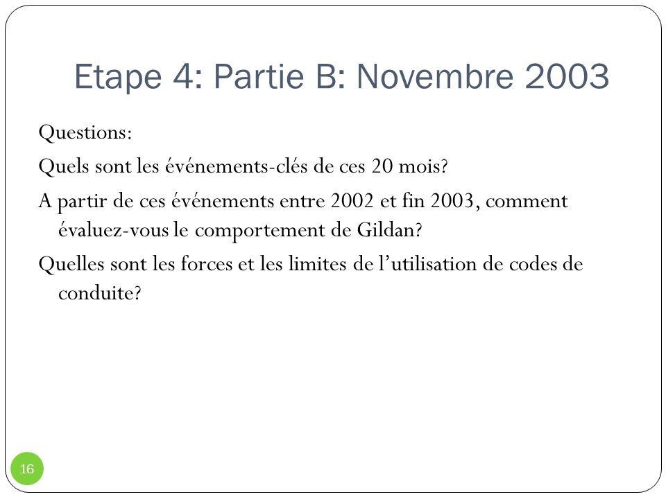 Etape 4: Partie B: Novembre 2003 16 Questions: Quels sont les événements-clés de ces 20 mois? A partir de ces événements entre 2002 et fin 2003, comme