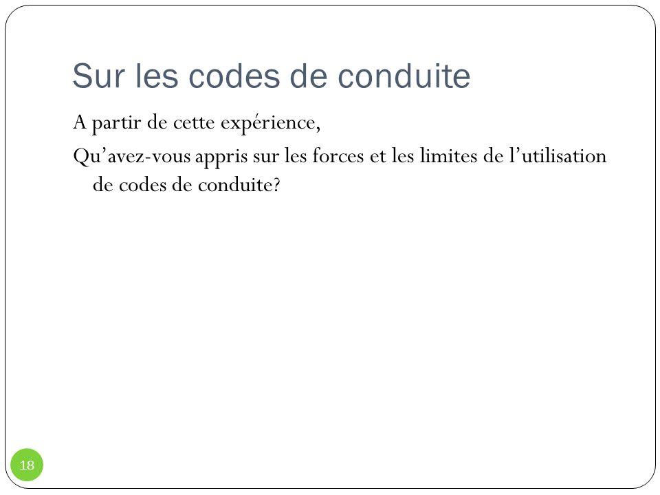 Sur les codes de conduite 18 A partir de cette expérience, Quavez-vous appris sur les forces et les limites de lutilisation de codes de conduite?