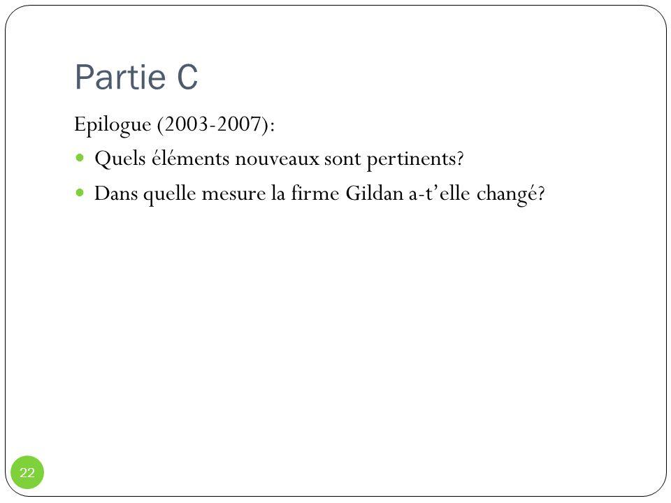 Partie C 22 Epilogue (2003-2007): Quels éléments nouveaux sont pertinents? Dans quelle mesure la firme Gildan a-telle changé?