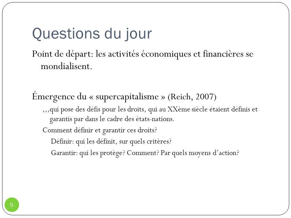 Questions du jour 5 Point de départ: les activités économiques et financières se mondialisent. Émergence du « supercapitalisme » (Reich, 2007),,,qui p