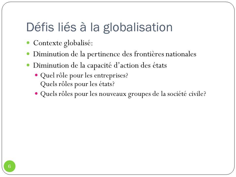 Défis liés à la globalisation 6 Contexte globalisé: Diminution de la pertinence des frontières nationales Diminution de la capacité daction des états