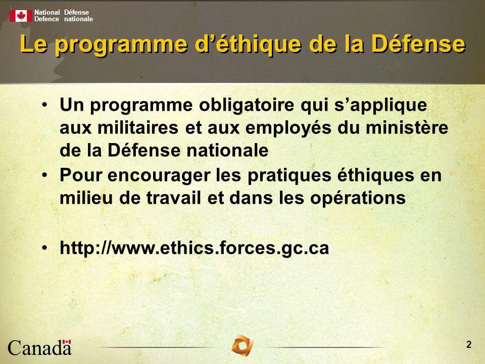 National Defence Défense nationale Canada 3 Créé en 1997 Axé sur les valeurs Niveaux organisationnel et individuel Met laccent sur : –le leadership –le dialogue –la sensibilisation –la gestion des risques –la prise de décisions Le programme déthique de la Défense