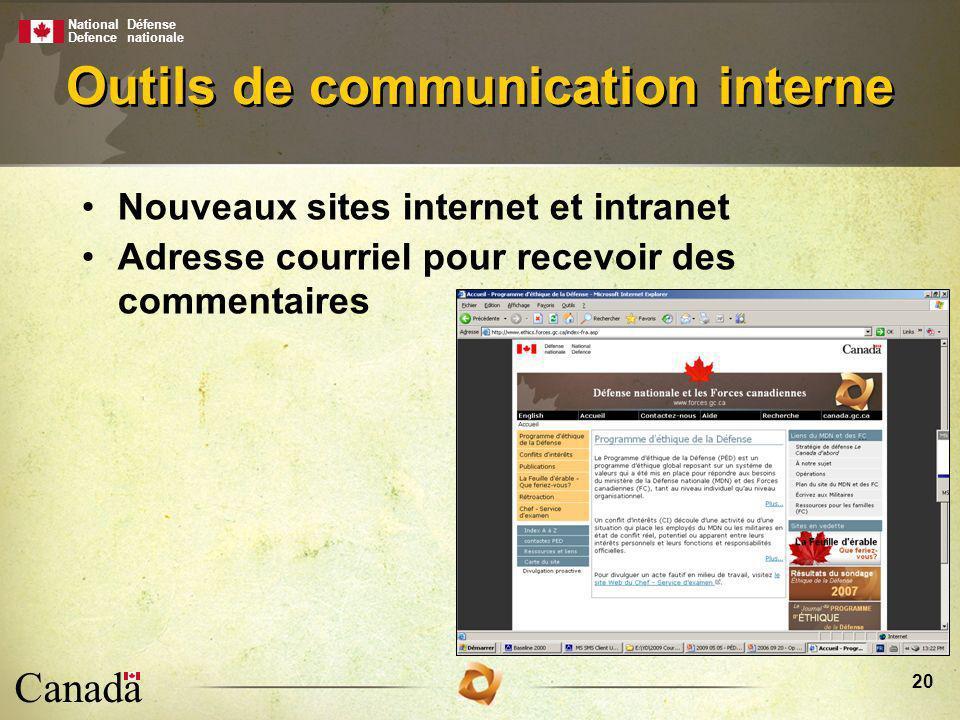 National Defence Défense nationale Canada 20 Outils de communication interne Nouveaux sites internet et intranet Adresse courriel pour recevoir des commentaires