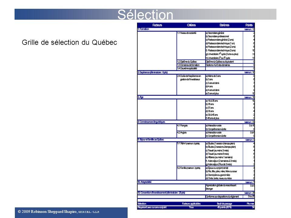 © 2009 Robinson Sheppard Shapiro, S.E.N.C.R.L. / L.L.P. Sélection Grille de sélection du Québec