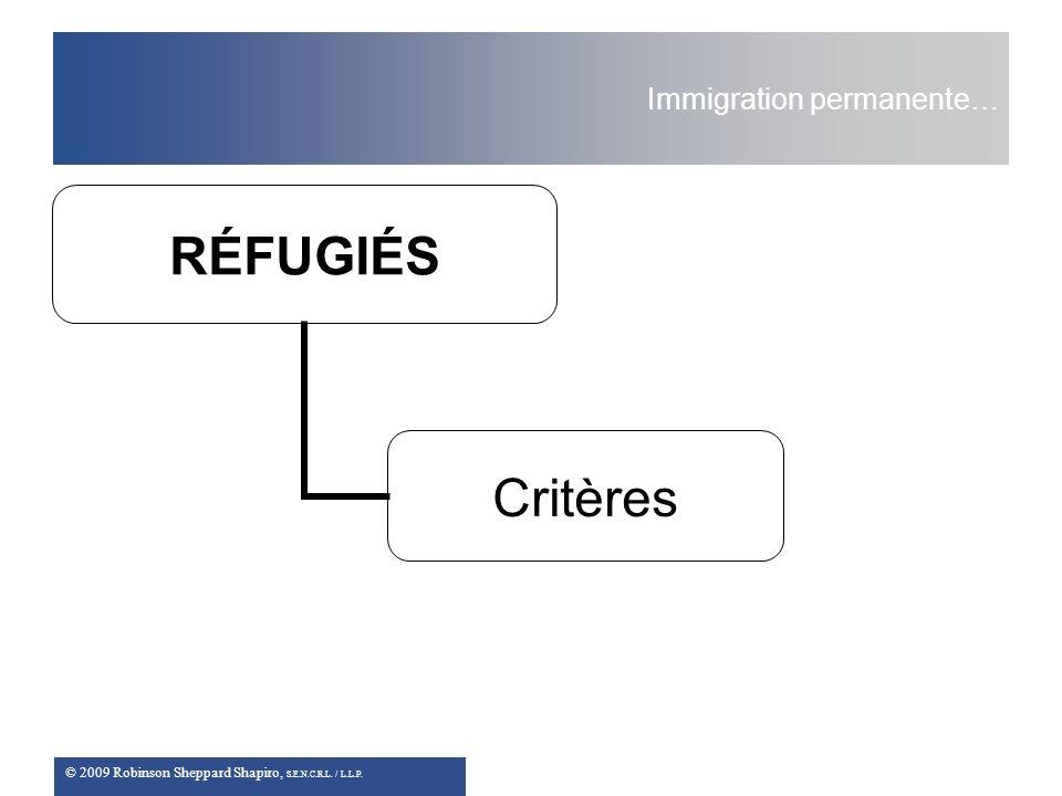 © 2009 Robinson Sheppard Shapiro, S.E.N.C.R.L. / L.L.P. Immigration permanente… RÉFUGIÉS Critères