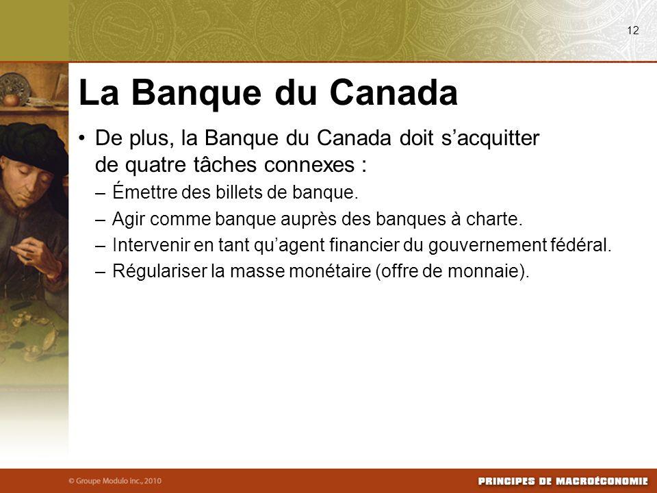 De plus, la Banque du Canada doit sacquitter de quatre tâches connexes : –Émettre des billets de banque. –Agir comme banque auprès des banques à chart