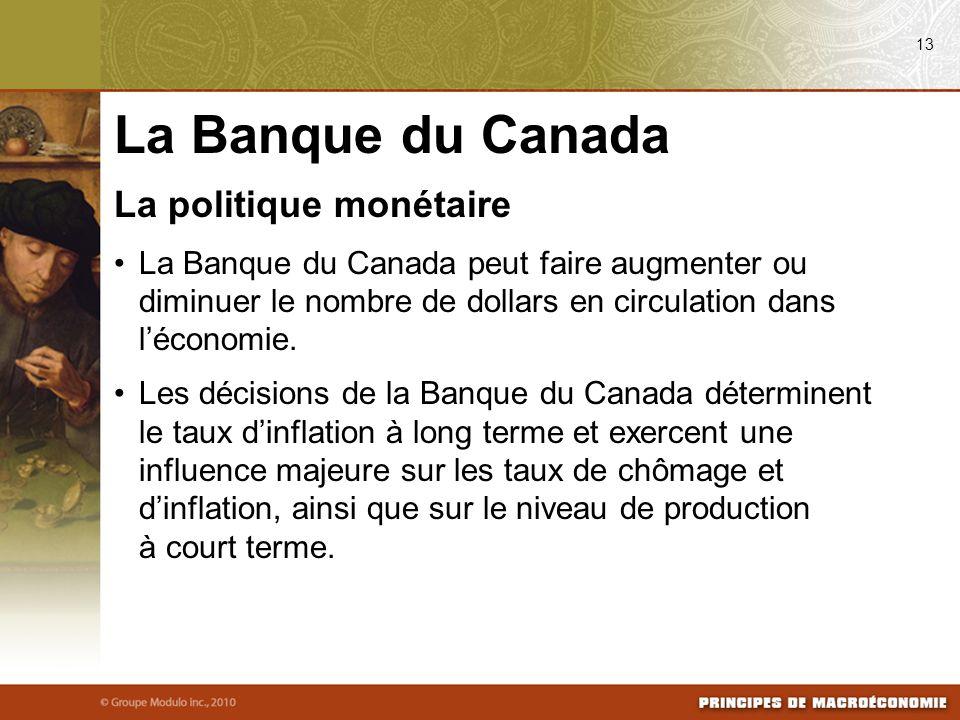 La politique monétaire La Banque du Canada peut faire augmenter ou diminuer le nombre de dollars en circulation dans léconomie. Les décisions de la Ba
