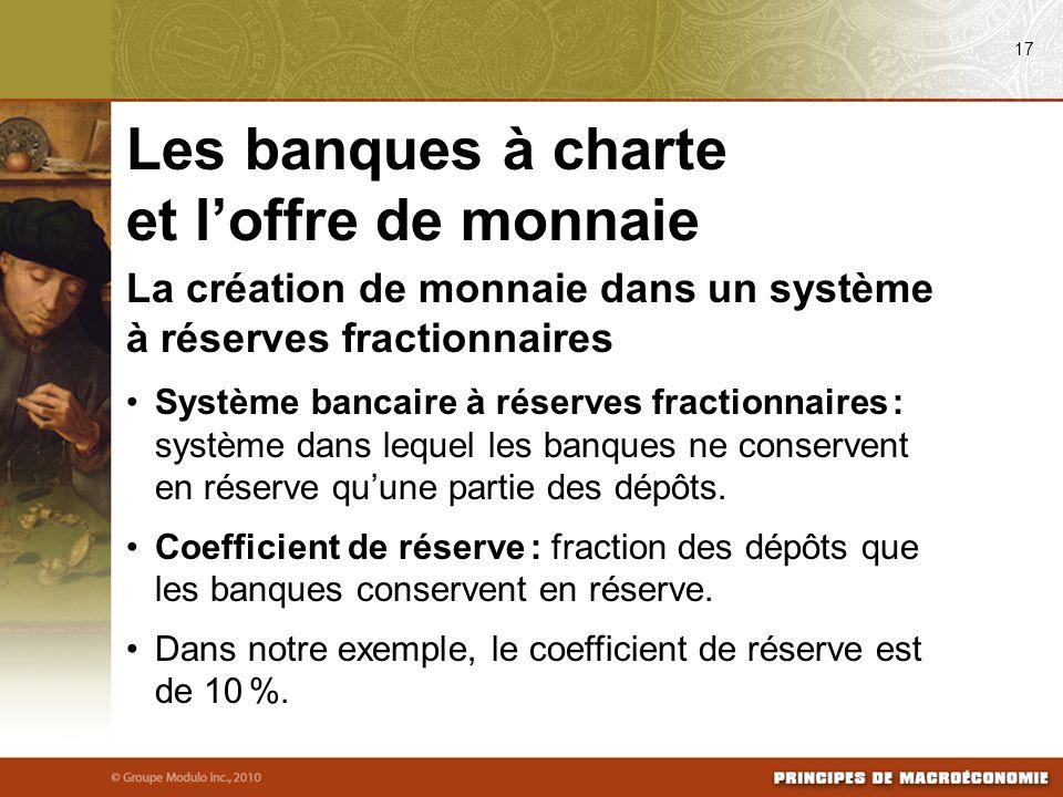 La création de monnaie dans un système à réserves fractionnaires Système bancaire à réserves fractionnaires : système dans lequel les banques ne conse