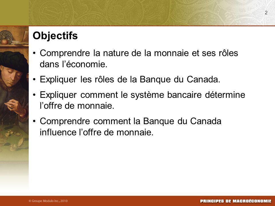 Comprendre la nature de la monnaie et ses rôles dans léconomie. Expliquer les rôles de la Banque du Canada. Expliquer comment le système bancaire déte
