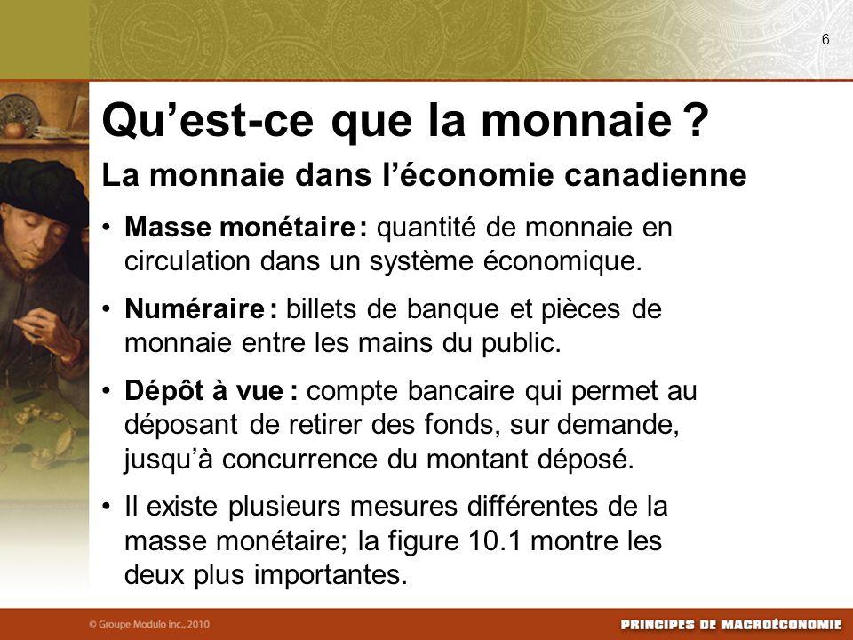 La monnaie dans léconomie canadienne Masse monétaire : quantité de monnaie en circulation dans un système économique. Numéraire : billets de banque et