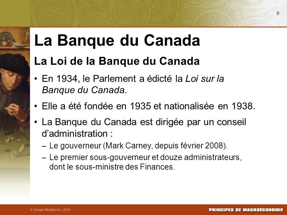 La Loi de la Banque du Canada En 1934, le Parlement a édicté la Loi sur la Banque du Canada. Elle a été fondée en 1935 et nationalisée en 1938. La Ban