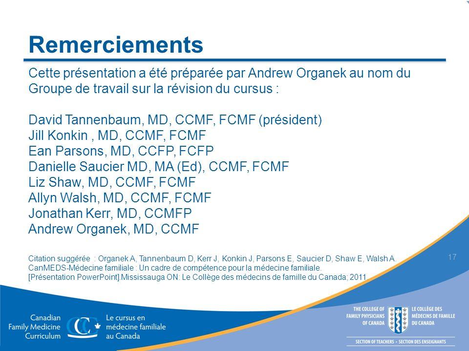 CanMEDS-Médecine familiale : Un cadre de compétence pour la médecine familiale Tannenbaum D, Kerr J, Konkin J, Organek A, Parsons E, Saucier D, Shaw L, Walsh A.