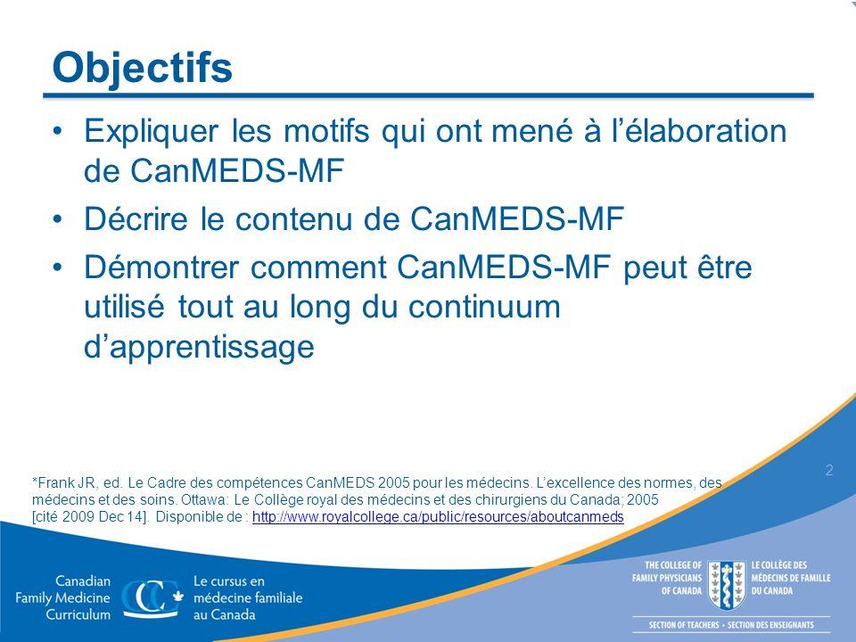 Contexte Le Cursus Triple C axé sur le développement des compétences a été créé pour former des résidents en médecine familiale au Canada capables de répondre aux besoins de la société, en utilisant les meilleures données probantes en pédagogie Pour ce faire, il était nécessaire davoir un référentiel de compétences des médecins de famille 3