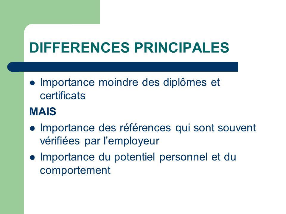 DIFFERENCES PRINCIPALES Importance moindre des diplômes et certificats MAIS Importance des références qui sont souvent vérifiées par lemployeur Import