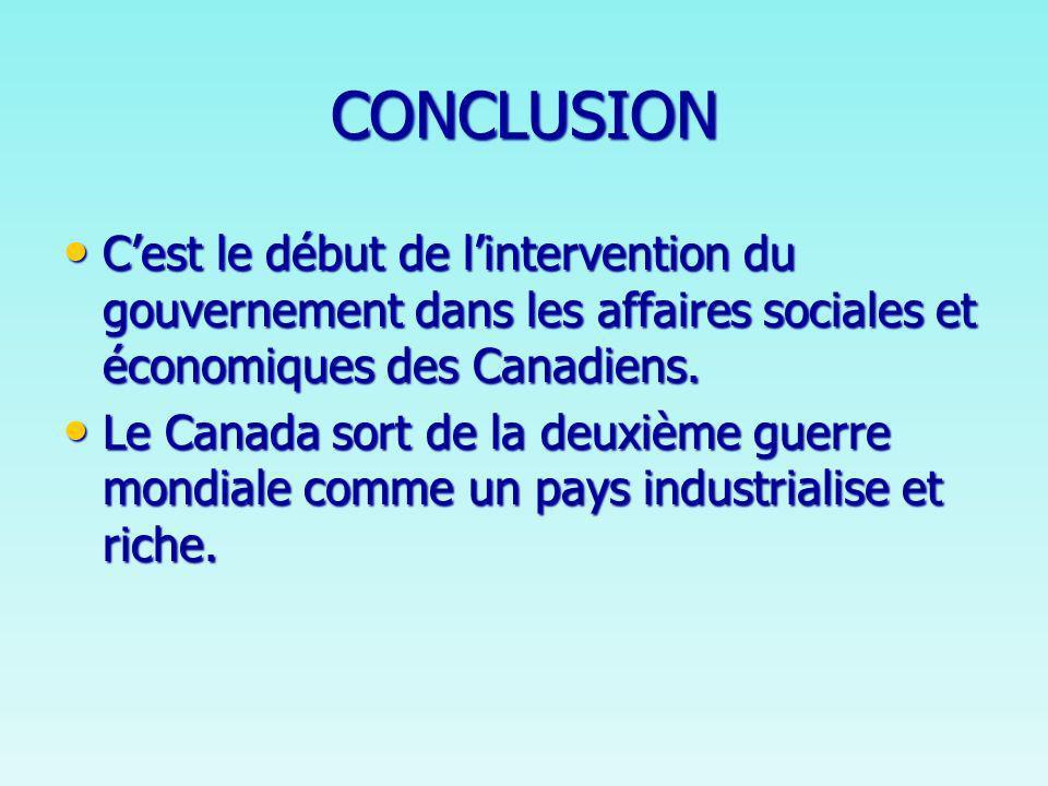 CONCLUSION Cest le début de lintervention du gouvernement dans les affaires sociales et économiques des Canadiens.