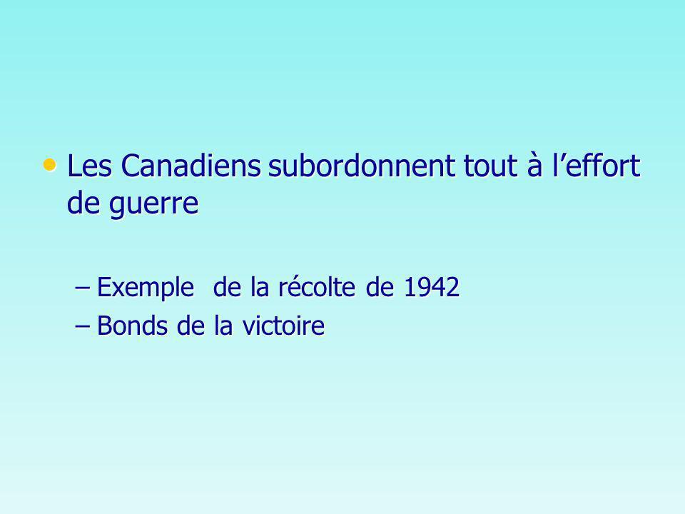Les Canadiens subordonnent tout à leffort de guerre Les Canadiens subordonnent tout à leffort de guerre –Exemple de la récolte de 1942 –Bonds de la victoire