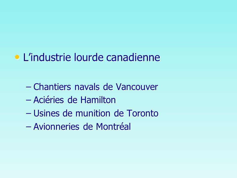 Le Canada produit ce quavant il importait Le Canada produit ce quavant il importait –Moteurs diesel –Caoutchouc synthétique –Roulement de billes –Matériel électronique –Lessence à haut indice doctane…