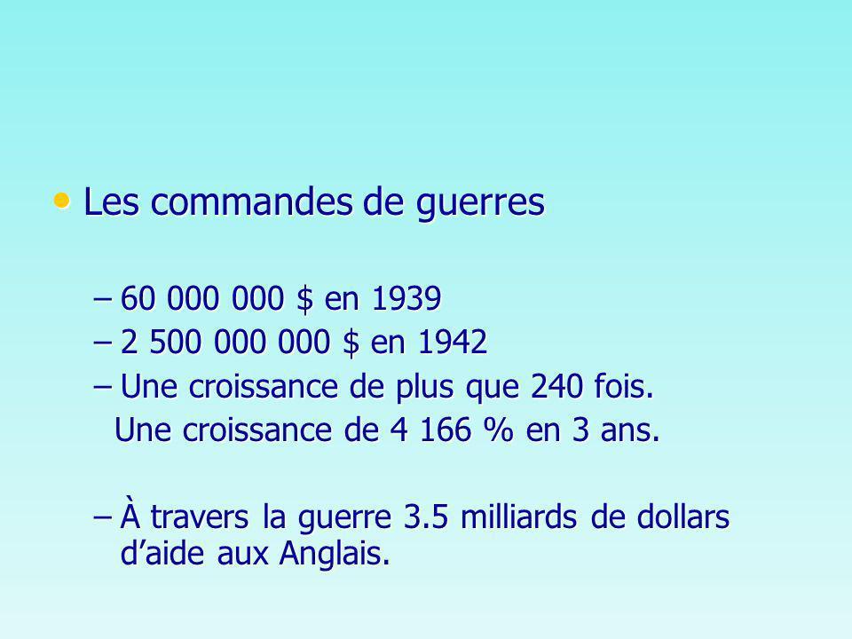 Les commandes de guerres Les commandes de guerres –60 000 000 $ en 1939 –2 500 000 000 $ en 1942 –Une croissance de plus que 240 fois.