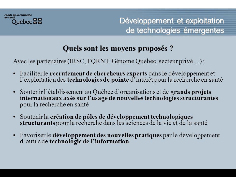 Développement et exploitation de technologies émergentes Quels sont les moyens proposés .