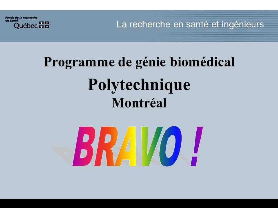 La recherche en santé et ingénieurs Programme de génie biomédical Polytechnique Montréal
