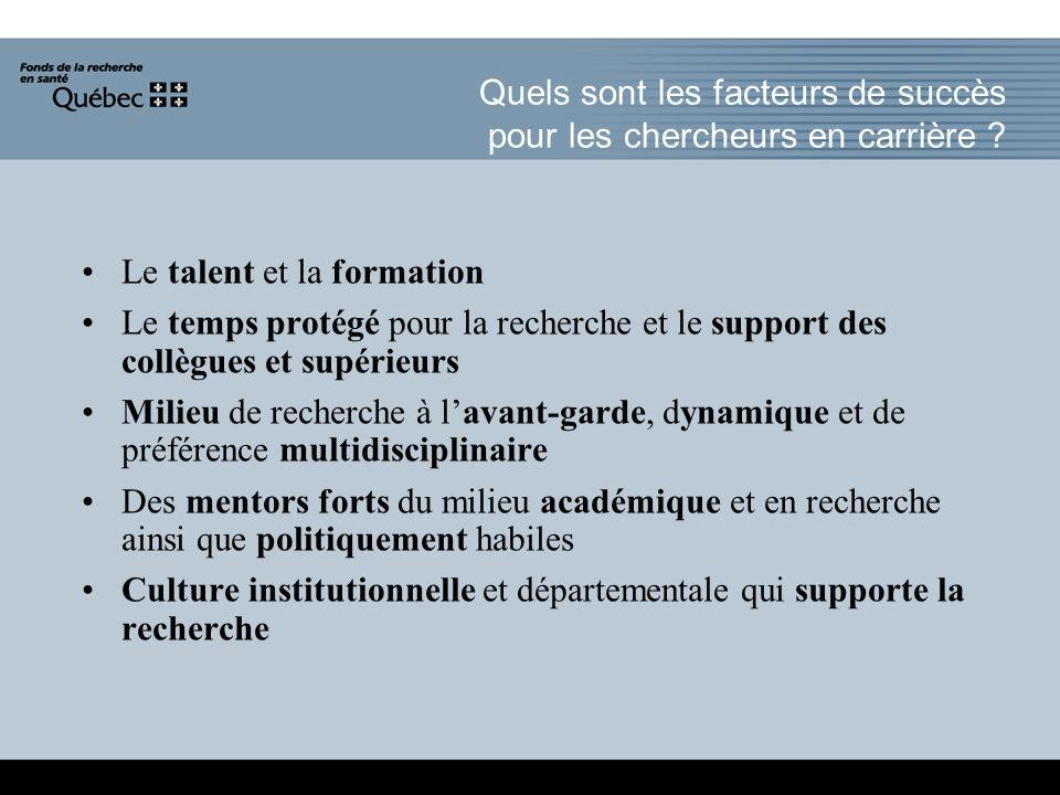 Quels sont les facteurs de succès pour les chercheurs en carrière .