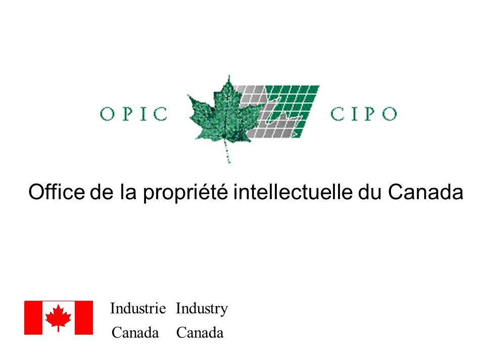 Industrie Industry Canada Canada Office de la propriété intellectuelle du Canada