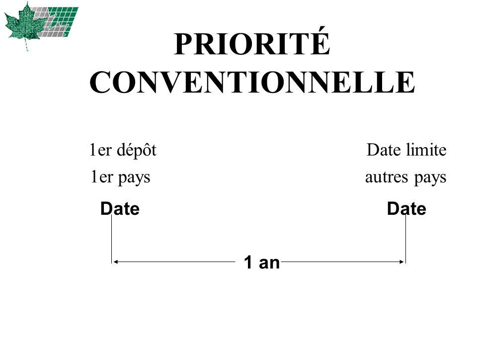 PRIORITÉ CONVENTIONNELLE 1er dépôt Date limite 1er pays autres pays 1 an Date