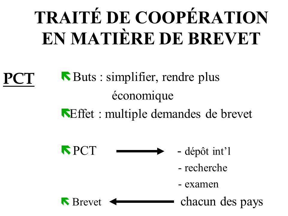 TRAITÉ DE COOPÉRATION EN MATIÈRE DE BREVET ë Buts : simplifier, rendre plus économique ëEffet : multiple demandes de brevet ë PCT - dépôt intl - reche