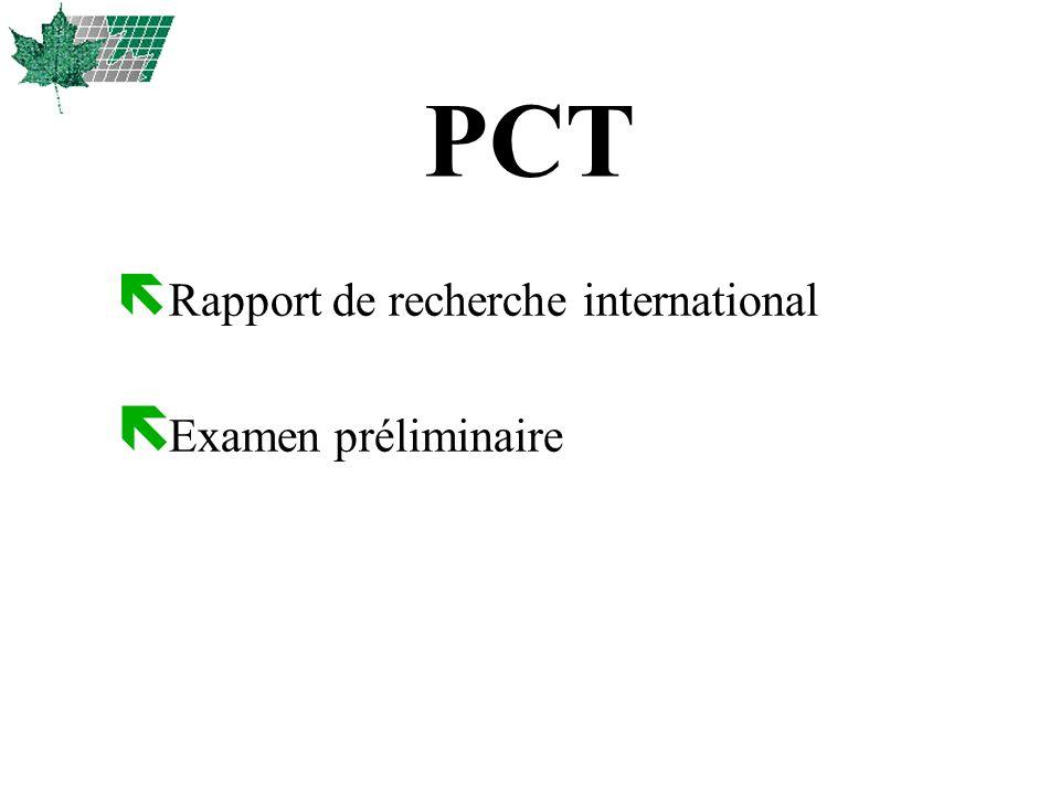 ë Rapport de recherche international ë Examen préliminaire