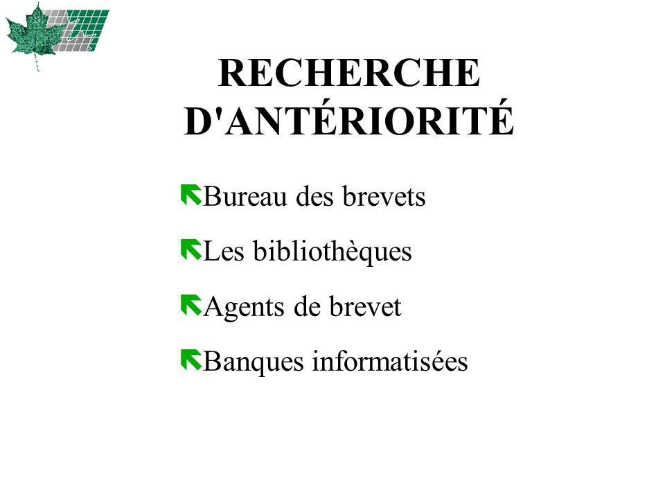 RECHERCHE D'ANTÉRIORITÉ ë Bureau des brevets ë Les bibliothèques ë Agents de brevet ë Banques informatisées