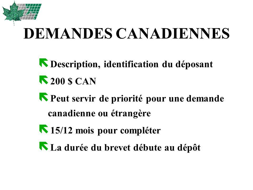 DEMANDES CANADIENNES ë Description, identification du déposant ë 200 $ CAN ë Peut servir de priorité pour une demande canadienne ou étrangère ë 15/12