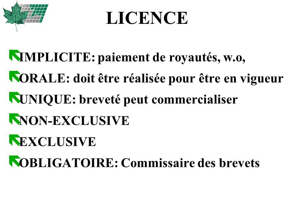 LICENCE ë IMPLICITE: paiement de royautés, w.o, ë ORALE: doit être réalisée pour être en vigueur ë UNIQUE: breveté peut commercialiser ë NON-EXCLUSIVE