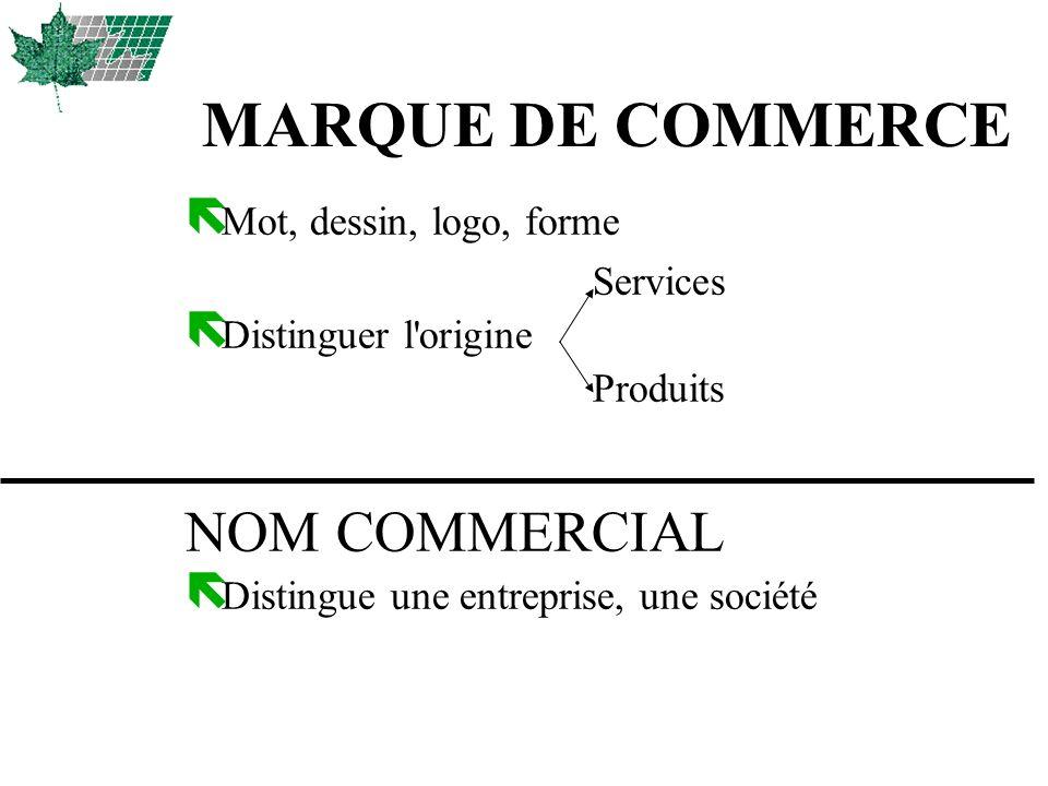MARQUE DE COMMERCE ë Mot, dessin, logo, forme Services ë Distinguer l'origine Produits NOM COMMERCIAL ë Distingue une entreprise, une société