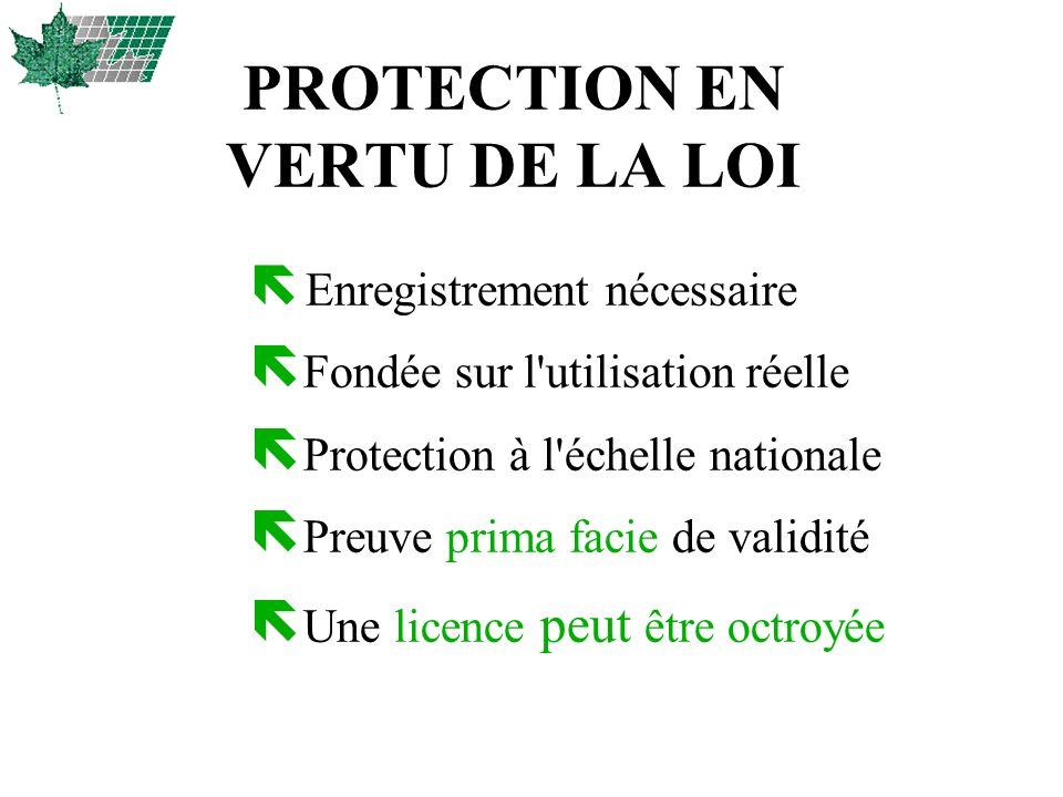 PROTECTION EN VERTU DE LA LOI ë Enregistrement nécessaire ë Fondée sur l'utilisation réelle ë Protection à l'échelle nationale ë Preuve prima facie de