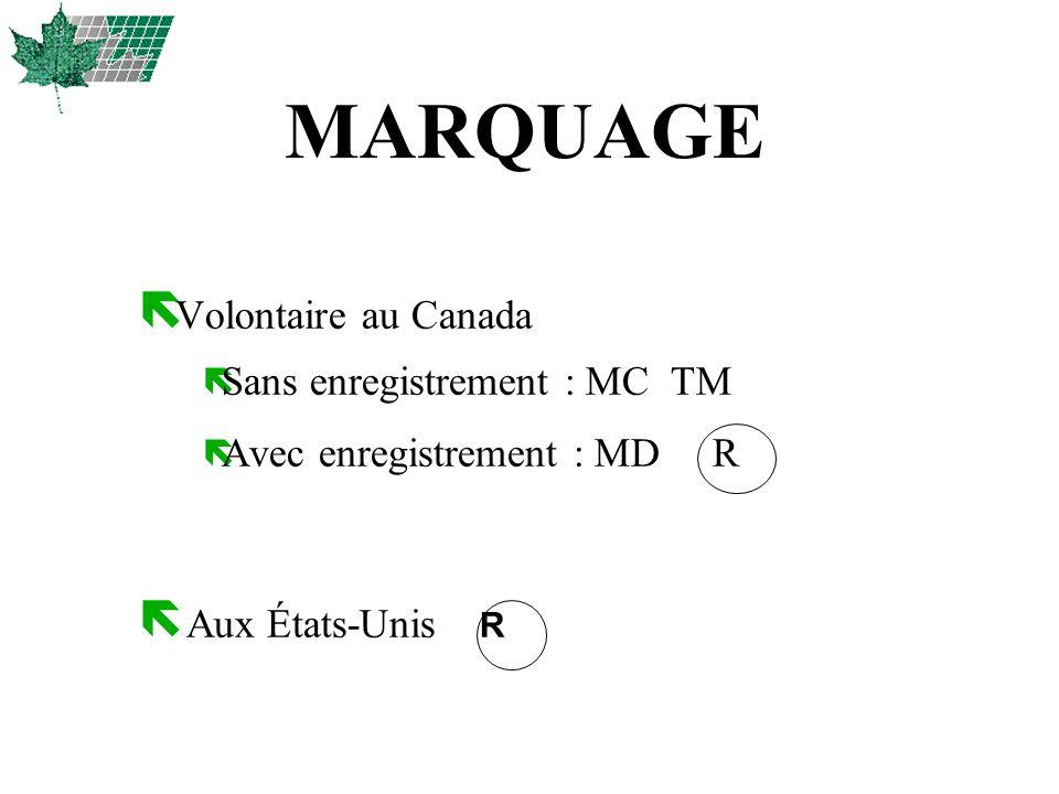 MARQUAGE ë Volontaire au Canada ë Sans enregistrement : MC TM ë Avec enregistrement : MD R Aux États-Unis R
