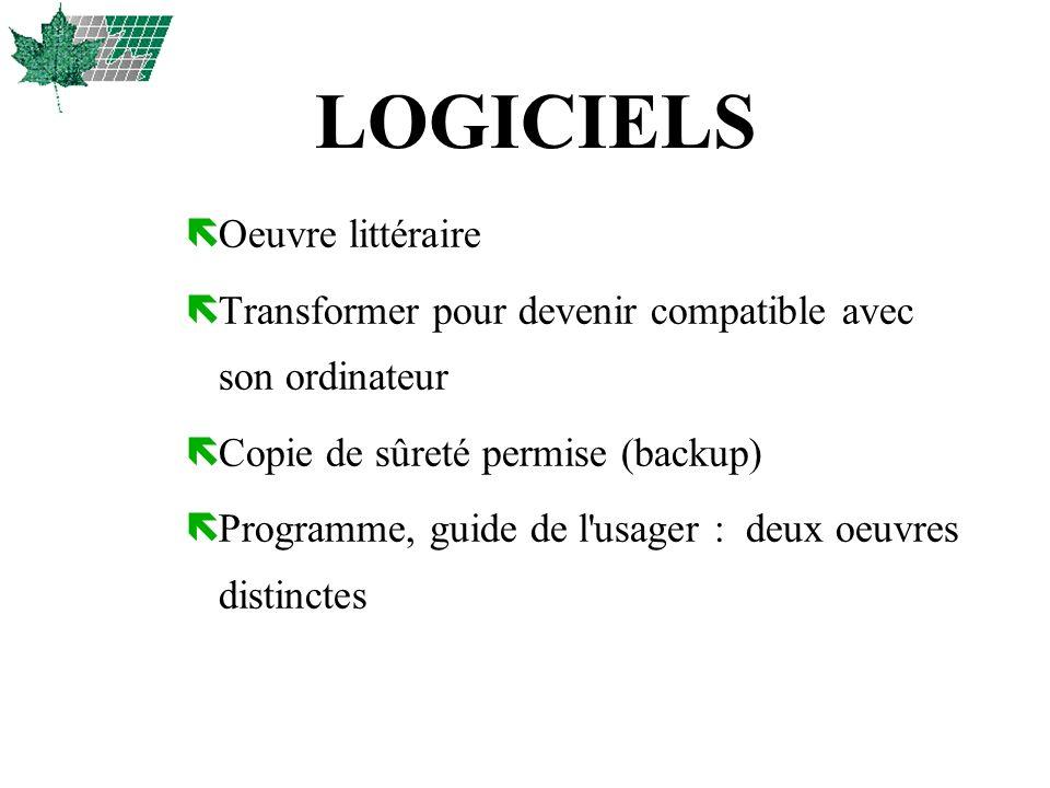 LOGICIELS ëOeuvre littéraire ëTransformer pour devenir compatible avec son ordinateur ëCopie de sûreté permise (backup) ëProgramme, guide de l'usager