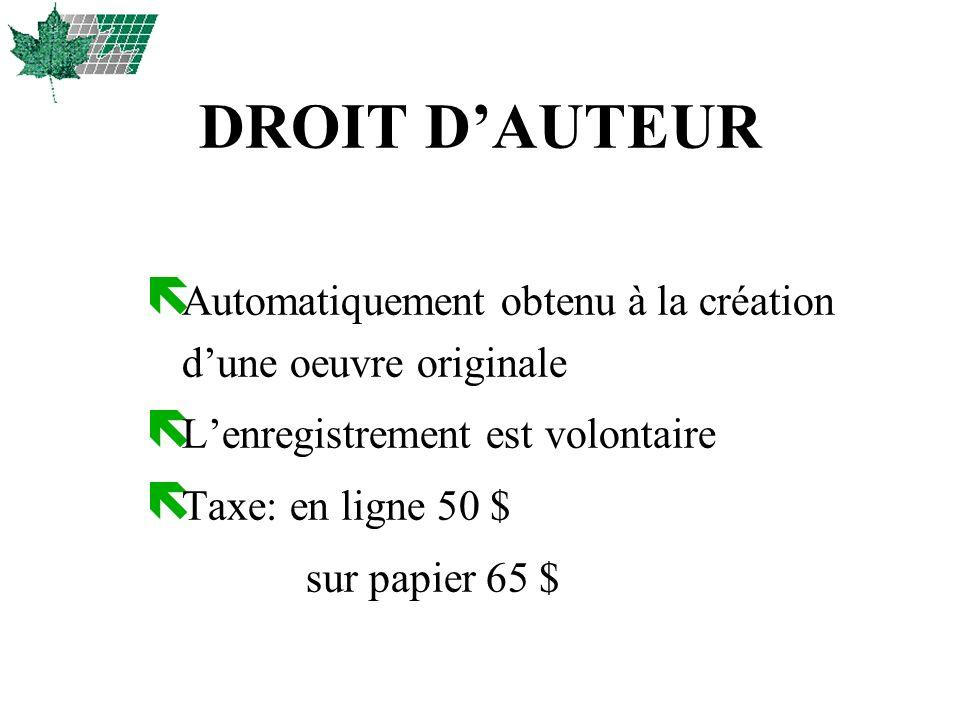 DROIT DAUTEUR ë Automatiquement obtenu à la création dune oeuvre originale ë Lenregistrement est volontaire ë Taxe: en ligne 50 $ sur papier 65 $