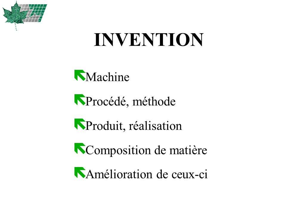 INVENTION ë Machine ë Procédé, méthode ë Produit, réalisation ë Composition de matière ë Amélioration de ceux-ci
