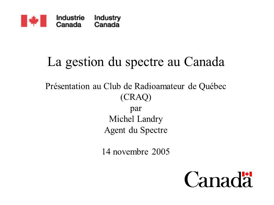 1/42 La gestion du spectre au Canada Présentation au Club de Radioamateur de Québec (CRAQ) par Michel Landry Agent du Spectre 14 novembre 2005