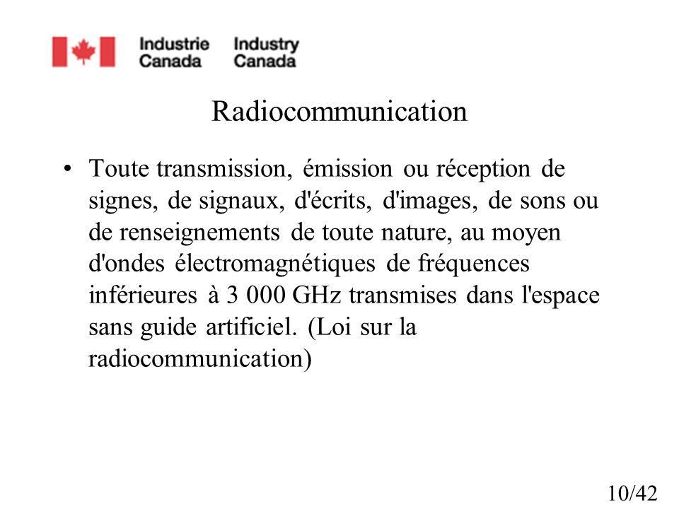 10/42 Radiocommunication Toute transmission, émission ou réception de signes, de signaux, d écrits, d images, de sons ou de renseignements de toute nature, au moyen d ondes électromagnétiques de fréquences inférieures à 3 000 GHz transmises dans l espace sans guide artificiel.